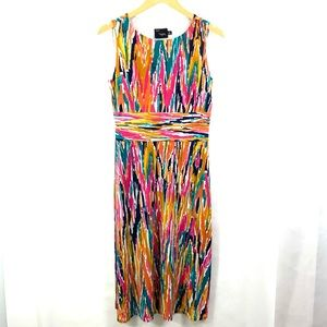 JUST TAYLOR Sleeveless Dress Stretch Multi Colored